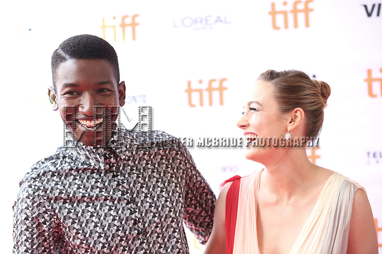 Mamoudou Athie and Brie Larson attend the 'Unicorn Store' premiere during the 2017 Toronto International Film Festival at Ryerson Theatre on September 11, 2017 in Toronto, Canada.
