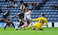 Preston North End's Callum Robinson pulls his shot wide of goal under pressure from Reading's Sam Walker<br /> <br /> Photographer Chris Vaughan/CameraSport<br /> <br /> The EFL Sky Bet Championship - Preston North End v Reading - Saturday 15th September 2018 - Deepdale - Preston<br /> <br /> World Copyright &copy; 2018 CameraSport. All rights reserved. 43 Linden Ave. Countesthorpe. Leicester. England. LE8 5PG - Tel: +44 (0) 116 277 4147 - admin@camerasport.com - www.camerasport.com