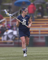 University of New Hampshire midfielder Kate Keagins (6) brings the ball forward. Boston College defeated University of New Hampshire, 11-6, at Newton Campus Field, May 1, 2012.