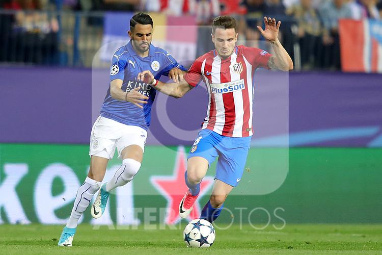 Atletico de Madrid's Saul Niguez (r) and Leicester City FC's Riyad Mahrez during Champions League 2016/2017 Quarter-finals 1st leg match. April 12,2017. (ALTERPHOTOS/Acero)