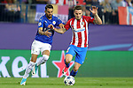 Atletico de Madrid's Saul Niguez (r) and Leicester City FC's Riyad Mahrez during Champions League 2016/2017 Quarter-finals 1st leg match. April 12,2017. (ALTERPHOTOS/Acero)