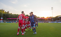 Captain Matt Bloomfield of Wycombe Wanderers leads the handshakes pre match during the Sky Bet League 2 match between Wycombe Wanderers and Accrington Stanley at Adams Park, High Wycombe, England on 16 August 2016. Photo by Andy Rowland.