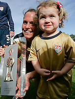 USA's Christie Rampone celebrates with the trophy after the finals. The United States defeated Denmark 2-1 during the finals of the Algarve Cup 2008 at Municipal Stadium in Vila Real de San Antonio, Portugal on March 12, 2008. Paulo Cordeiro/isiphotos.com..