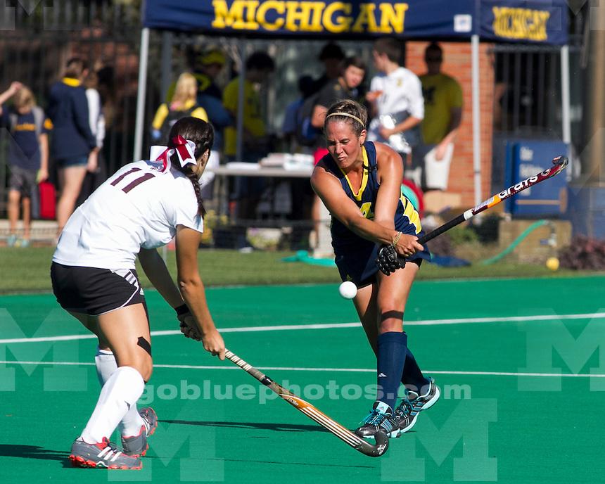 The University of Michigan womens field hockey team; 5-0 victory over Missouri State at Ocker Field in Ann Arbor MI. on September 27,2013.