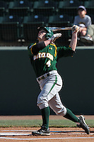 Nathan Orf #4 of the Baylor Bears bats against the UCLA Bruins at Jackie Robinson Stadium on February 25, 2012 in Los Angeles,California. UCLA defeated Baylor 9-3.(Larry Goren/Four Seam Images)
