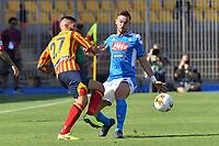 Marco Calderoni of Lecce challenges for the ball with Fabian Ruiz of Napoli <br /> Lecce 22-09-2019 Stadio Via del Mare <br /> Football Serie A 2019/2020 <br /> US Lecce - SSC Napoli <br /> Photo Carmelo Imbesi / Insidefoto