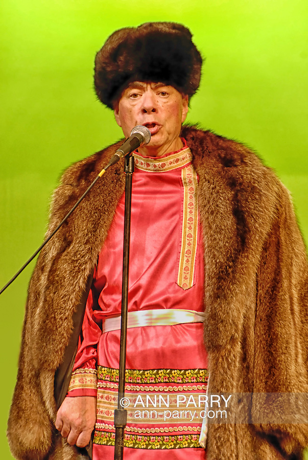 MERRICK, NEW YORK: September 12, Russian folk singer Nikolai Massenkof, wearing authentic Russian long fur coat and fur hat, while starring in Massenkoff Russian Folk Festival concert presented by Merrick Bellmore Community Concert Association, in Merrick, New York, USA, on 12 September 2009.