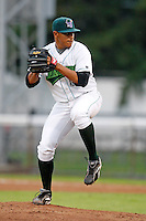July 30, 2009:  Pitcher Alejandro Ramos of the Jamestown Jammers delivers a pitch during a game at Russell Diethrick Park in Jamestown, NY.  The Jammers are the NY-Penn League Short-Season Single-A affiliate of the Florida Marlins.  Photo By Mike Janes/Four Seam Images