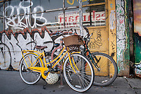 Kensington Market in Toronto is an ecclectic mix of artist influence, ethnic restaurants, general goods stores, bicycles and the specturum of Toronto people.