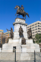 Statue of General George Washington, in front of the Virginia state capitol building.