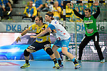 GER - Mannheim, Germany, September 23: During the DKB Handball Bundesliga match between Rhein-Neckar Loewen (yellow) and TVB 1898 Stuttgart (white) on September 23, 2015 at SAP Arena in Mannheim, Germany.  Rafael Baena Gonzalez #16 of Rhein-Neckar Loewen, Kasper Kisum #10 of TVB 1898 Stuttgart<br /> <br /> Foto &copy; PIX-Sportfotos *** Foto ist honorarpflichtig! *** Auf Anfrage in hoeherer Qualitaet/Aufloesung. Belegexemplar erbeten. Veroeffentlichung ausschliesslich fuer journalistisch-publizistische Zwecke. For editorial use only.