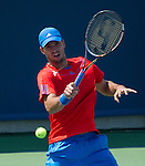 viktor Troicki (SRB) loses  at the Western and Southern Financial Group Masters Series in Cincinnati on August 16, 2012