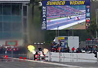 Mar 16, 2019; Gainesville, FL, USA; NHRA top fuel driver Doug Kalitta during qualifying for the Gatornationals at Gainesville Raceway. Mandatory Credit: Mark J. Rebilas-USA TODAY Sports