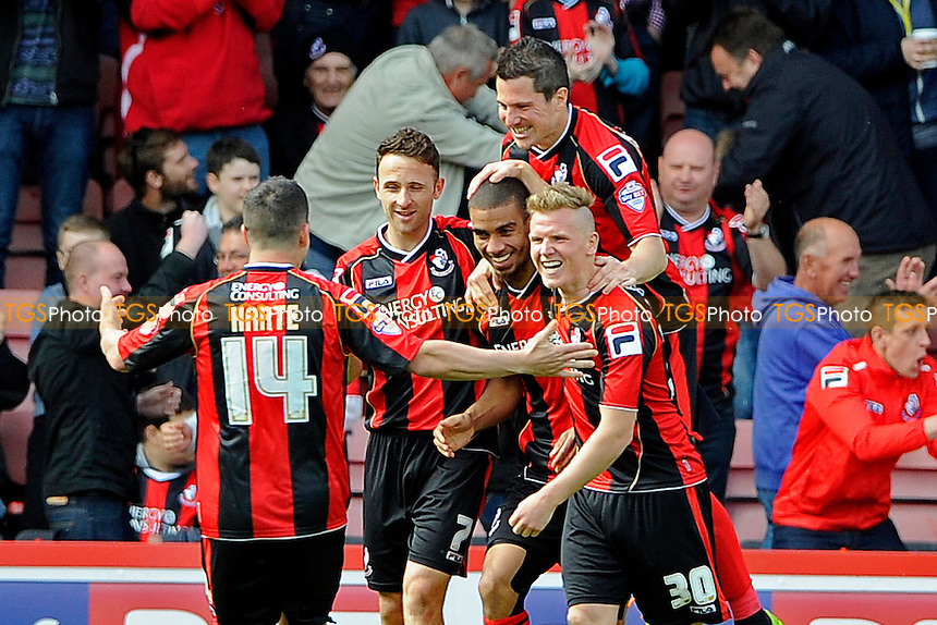 Lewis Grabban of AFC Bournemouth is mobbed after scoring the second goal - AFC Bournemouth vs Nottingham Forest - Sky Bet Championship Football at the Goldsands Stadium, Bournemouth, Dorset - 26/04/14 - MANDATORY CREDIT: Denis Murphy/TGSPHOTO - Self billing applies where appropriate - 0845 094 6026 - contact@tgsphoto.co.uk - NO UNPAID USE