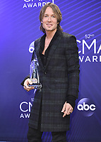 NASHVILLE, TN - NOVEMBER 14:  Keith Urban at the 52nd Annual CMA Awards at the Bridgetone Arena on November 14, 2018 iin Nashville, Tennessee. (Photo by Scott Kirkland/PictureGroup)