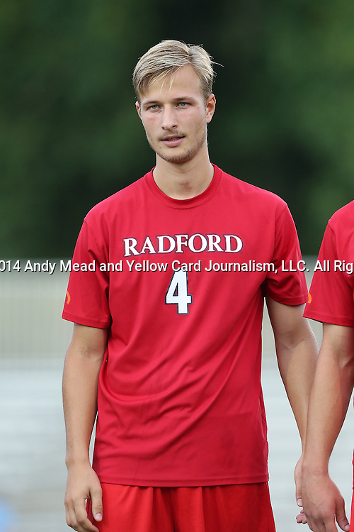 19 August 2014: Radford's Jo Vetle Rimstad (NOR). The Duke University Blue Devils hosted the Radford University Highlanders at Koskinen Stadium in Durham, NC in a 2014 NCAA Division I Men's Soccer preseason match.