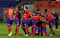 PASTO - COLOMBIA, 21-07-2018: Los jugadores de Deportivo Pasto celebran el gol de su equipo anotado a Leones F. C., durante partido entre Deportivo Pasto y Leones F. C., de la fecha 5 por la Liga çguila II 2018, jugado en el estadio Departamental Libertad de la ciudad de Pasto.  / The players of Deportivo Pasto celebrate the goal from their team to Leones F. C., during a match between Deportivo Pasto and Leones F. C., of the 5th date for the Liga Aguila I 2018 at the Departamental Libertad stadium in Pasto city. Photo: VizzorImage. / Leonardo Castro / Cont.