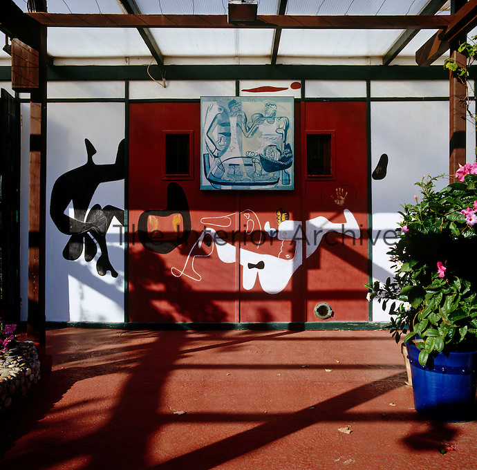 A mural on the walls of the terrace at the Etoile de Mer restaurant that was painted by Le Corbusier