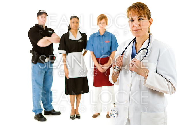 Extensive series featuring a multi-ethnic group of people in various occupations.  Includes policeman, housekeeper, doctor, waitress, businesswoman, and pilot.