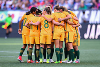 Seattle, WA - Thursday July 27, 2017: Australia starting eleven during a 2017 Tournament of Nations match between the women's national teams of the United States (USA) and Australia (AUS) at CenturyLink Field.