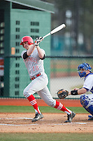 Spencer Scorza (18) of the Cornell Big Red follows through on his swing against the Seton Hall Pirates at The Ripken Experience on February 27, 2015 in Myrtle Beach, South Carolina.  The Pirates defeated the Big Red 3-0.  (Brian Westerholt/Four Seam Images)