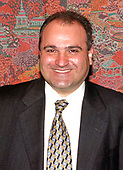 File photo of George Nader speaking at a Middle East Insight event in Washington, DC on June 17, 1998.  Nader, a Lebanese-American businessman, is an advisor to Crown Prince Mohammed bin Zayed al-Nahyan of the United Arab Emirates (UAE), and who last year was a frequent visitor to the Trump White House, is now a focus of the investigation by Robert Mueller.<br /> Credit: Ron Sachs / CNP
