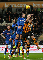 Bolton Wanderers' Christian Doidge competing with Hull City's Jordy de Wijs<br /> <br /> Photographer Andrew Kearns/CameraSport<br /> <br /> The EFL Sky Bet Championship - Hull City v Bolton Wanderers - Tuesday 1st January 2019 - KC Stadium - Hull<br /> <br /> World Copyright © 2019 CameraSport. All rights reserved. 43 Linden Ave. Countesthorpe. Leicester. England. LE8 5PG - Tel: +44 (0) 116 277 4147 - admin@camerasport.com - www.camerasport.com