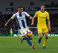 Brighton &amp; Hove Albion's Anthony Knockaert (left) under pressure from Chelsea's Marcos Alonso (right) <br /> Photographer David Horton/CameraSport<br /> <br /> The Premier League - Brighton and Hove Albion v Chelsea - Sunday 16th December 2018 - The Amex Stadium - Brighton<br /> <br /> World Copyright &copy; 2018 CameraSport. All rights reserved. 43 Linden Ave. Countesthorpe. Leicester. England. LE8 5PG - Tel: +44 (0) 116 277 4147 - admin@camerasport.com - www.camerasport.com