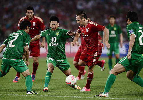 24.07.2012.  Beijing, CHINA; Bayern coped admirably with the sultry heat on Tuesday evening in Beijing, winning the Yingli Cup 2012 by a comfortable 6-0 margin against Beijing Guoan. Franck Ribery.