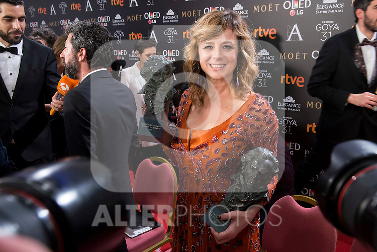 Emma Suarez pose to the media with both Goya award at Madrid Marriott Auditorium Hotel in Madrid, Spain. February 04, 2017. (ALTERPHOTOS/BorjaB.Hojas)