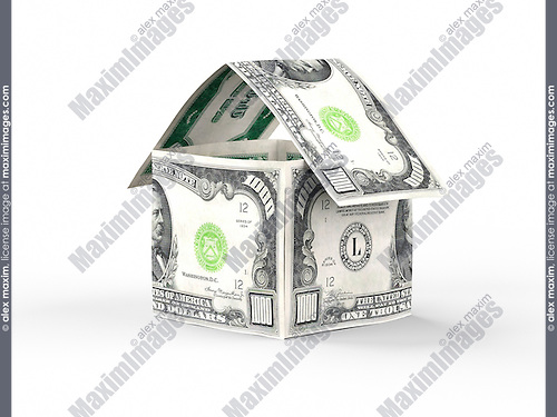 House made of money, thousand US dollar bills isolated on white background