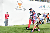 Brooks Koepka (USA) departs the first tee during round 4 Singles of the 2017 President's Cup, Liberty National Golf Club, Jersey City, New Jersey, USA. 10/1/2017. <br /> Picture: Golffile | Ken Murray<br /> <br /> All photo usage must carry mandatory copyright credit (&copy; Golffile | Ken Murray)