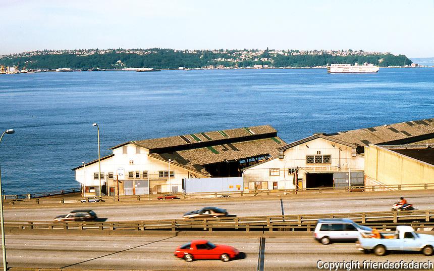 Seattle: Looking across freeway to Elliott Bay and West Seattle. The Freeway--Alaska Way Viaduct--is old U. S. 99.