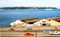 Seattle: Looking across freeway to Elliott Bay and West Seattle. The Freeway--Alaska Way Viaduct--is old U. S. 99.