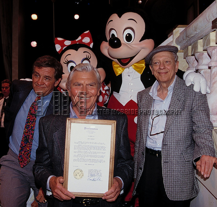 George Lindsey, Andy Griffith & Don Knotts with Mickey & Minnie Mouse attending an ANDY GRIFFITH SHOW Reunion at the Disney MGM Studios, Walt Disney World Theme Park in Orlando, Florida. August 11, 1992