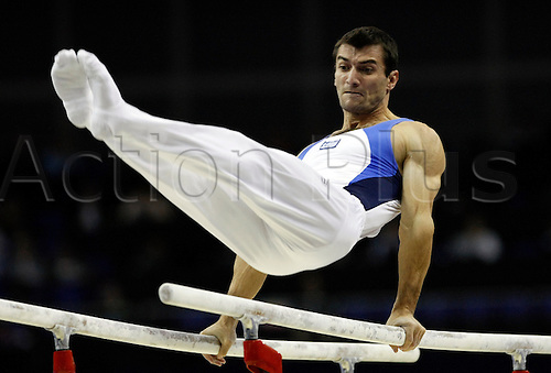 Vasileios Tsolakidis from Greece performs in the parallel bars final in the Artistic World Gymnastics Championships at the O2 Arena in London, Britain, 18 October 2009. The 41st Artistic World Gymnastics Championships are taking place in the English capital from the 13th to the 18th of October 2009.  Photo by Felipe Trueba/Actionplus.