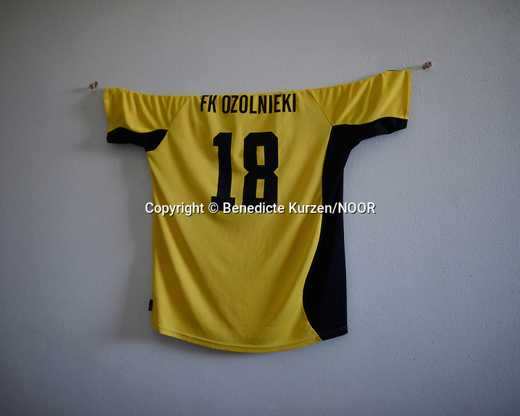 Famous Latvian soccer player shirt hang in a cell, at the Cesu correctional institution of juveniles which has been renovated in one part and newly built in other part, Cesu, May 2013. <br /> <br /> There are 50 inmates at the moment at the correctional institution.