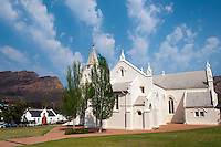 Montagu, South Africa, September 2011. The Dutch reformed church. The sleepy town of Montagu is home to artists and other people that have decided to seek peace. it is the gateway to the Karoo and we follow Route 62.  Travelling by camper is a great way to see the Cape Winelands, Klein Karoo, and the Garden Route. The Garden Route offers you majestic mountains, breathtaking views, a natural garden of rich, colourful vistas, with valleys and lakes, rivers and forests, a paradise for bird-lovers and nature lovers, an eco-destination like few others in the world, with miles upon miles of beautiful, white sandy beaches.  Photo by Frits Meyst/Adventure4ever.com