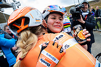 Picture by Alex Whitehead/SWpix.com - 04/05/2018 - Cycling - 2018 Asda Women's Tour de Yorkshire - Stage 1: Barnsley to Ilkley - Megan Guarnier of Boels Dolmans celebrates with Anna Plichta after winning Stage 2 and the overall Asda Women's Tour de Yorkshire.