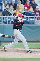 JC Cardenas (18) of the Vancouver Canadians at bat during a game against the Everett Aquasox at Everett Memorial Stadium in Everett, Washington on July 16, 2015.  Vancouver defeated Everett 5-4. (Ronnie Allen/Four Seam Images)