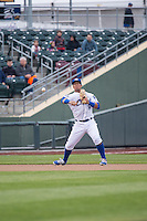 Cheslor Cuthbert (24) of the Omaha Storm Chasers on defense against the Memphis Redbirds in Pacific Coast League action at Werner Park on April 24, 2015 in Papillion, Nebraska.  (Stephen Smith/Four Seam Images)