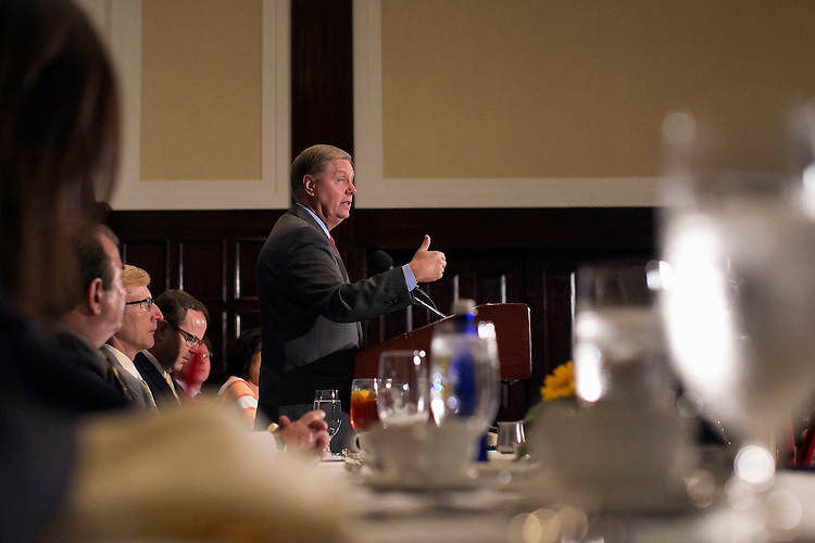 UNITED STATES - September 8: Republican presidential candidate Sen. Lindsey Graham, R-S.C., answers questions during a luncheon as he strengthens his opposition against the Iran nuclear agreement at the National Press Club in Washington, Tuesday, September 8, 2015. (Photo By Al Drago/CQ Roll Call)