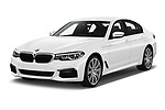 2019 BMW 5-Series M-Sport 4 Door Sedan Angular Front stock photos of front three quarter view