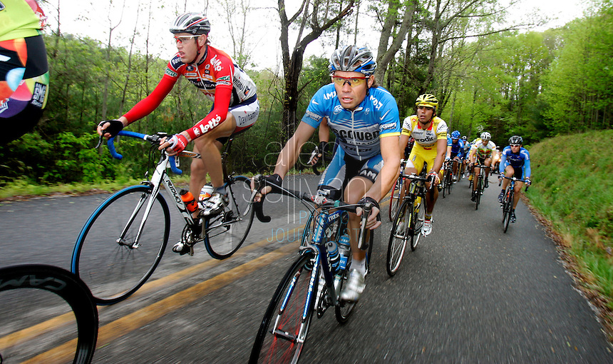 Viatcheslav Ekimov (center), of the Discovery Channel Pro Cycling Team, rides in the pack during Stage 5 of the Ford Tour de Georgia. His teammate Tom Danielson won the 94.5-mile (152.1-km) stage from Blairsville to the top of Brasstown Bald, the highest point in the state.<br />