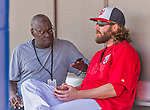 5 March 2015: MLB.com beat reporter Bill Ladson, covering the Washington Nationals, interviews right fielder Jayson Werth in the dugout prior to a Spring Training game against the New York Mets at Space Coast Stadium in Viera, Florida. The Nationals rallied to defeat the Mets 5-4 in Grapefruit League play. Mandatory Credit: Ed Wolfstein Photo *** RAW (NEF) Image File Available ***