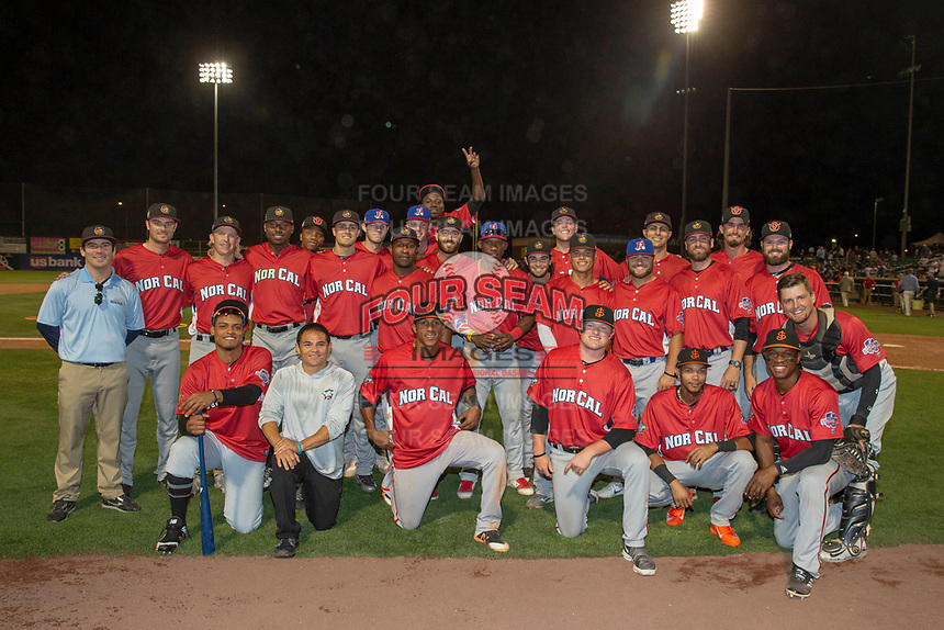 The North Division poses for a picture after their win against the South Division during the 2018 California League All-Star Game at The Hangar on June 19, 2018 in Lancaster, California. The North All-Stars defeated the South All-Stars 8-1.  (Donn Parris/Four Seam Images)