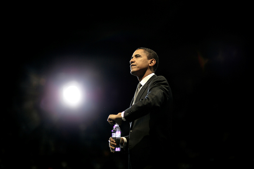 Democratic presidential candidate Senator Barack Obama  after speaking at a campaign rally at the University of Maryland in College Park, Maryland.Photo by Brooks Kraft/Corbis..