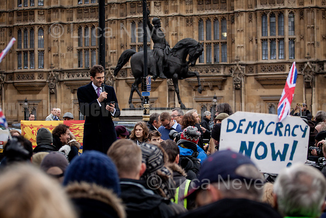 John Rees-Evans (UK Independence Party candidate for leadership election).<br /> <br /> London, 23/11/2016. Today - five months after the EU Referendum of the 23rd of June 2016, &quot;The Political Movement UK&quot; and other pro-brexit organizations held a demonstration in Old Palace Yard, outside the Houses of Parliament, to call the British Conservative Government, lead by Theresa May, to invoke the Article 50 which will quickly activate the exit of Great Britain from the EU, also known as Brexit. From the organisers Facebook page: &lt;&lt;June 23rd we made history. 5 months on and its time for all Brexiteers to come together once more and stand up for our democracy. November 23rd we will have the Autumn Statement. It is one of the busiest day's in Westminster with every MP across the nation in attendance. The world's media will be covering the event giving the 52% maximum exposure to make their voices heard.[&hellip;] An official protest March is also being planned for the 4th Dec (official confirmation will come from leave.eu) to target the Supreme Court's decision. Please try to support both events so we can send a strong message to the 'establishment' that 17.5m will not be silenced&gt;&gt;.<br /> <br /> For more information please click here: https://www.facebook.com/events/208896679537518/