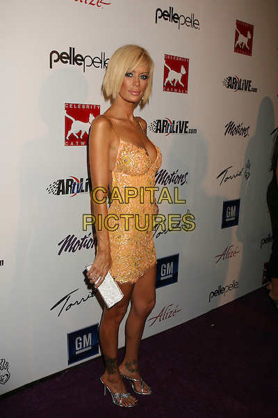 JENNA JAMESON.Celebrity Catwalk For Charity - Arrivals held at The Highlands, Hollywood, California,.16 August 2007..full length yellow lace dress boobs cleavage fake plastic surgery.CAP/ADM/RE.©Russ Elliot/AdMedia/Capital Pictures.