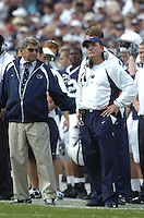 06 September 2008:  Penn State Head coach Joe Paterno and Defensive Coordinator Tom Bradley.  The Penn State Nittany Lions defeated the Oregon State Beavers 45-14 September 6, 2008 at Beaver Stadium in State College, PA..